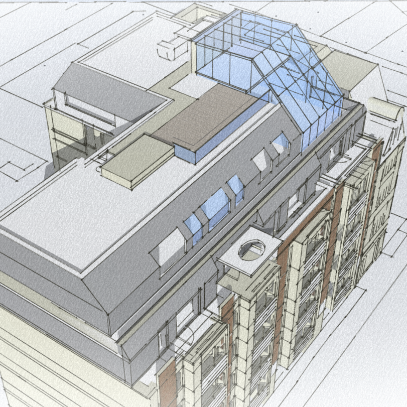 Commercial Glazed Roof Extension proposal perspective